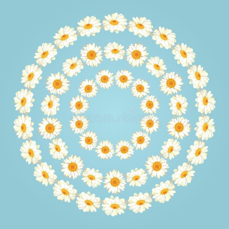 在葡萄酒蓝色背景的春黄菊样式 雏菊chaines 设置圆的框架的汇集您的文本或照片的 库存例证
