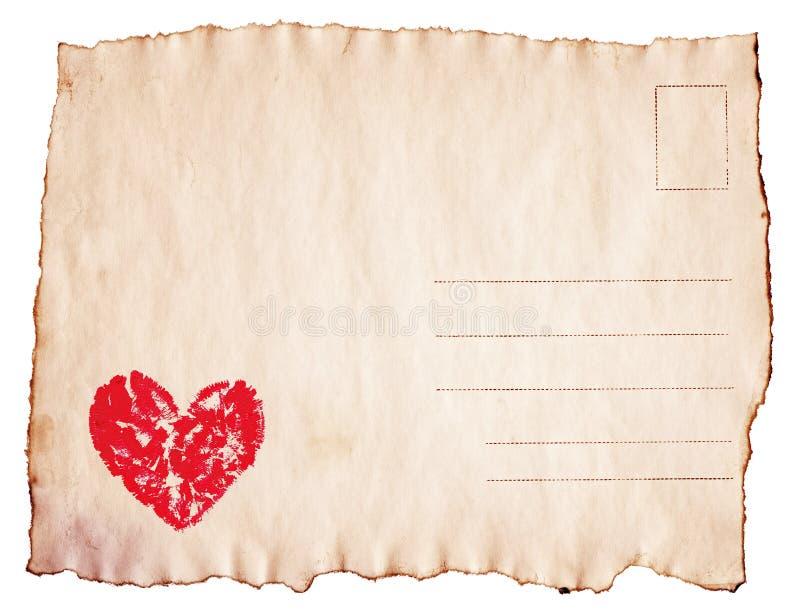 在葡萄酒被烧焦的明信片绘的水彩心脏 库存照片