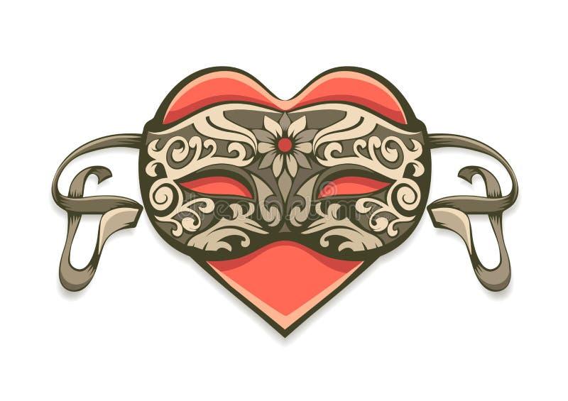 在葡萄酒装饰面具的红色心脏 皇族释放例证