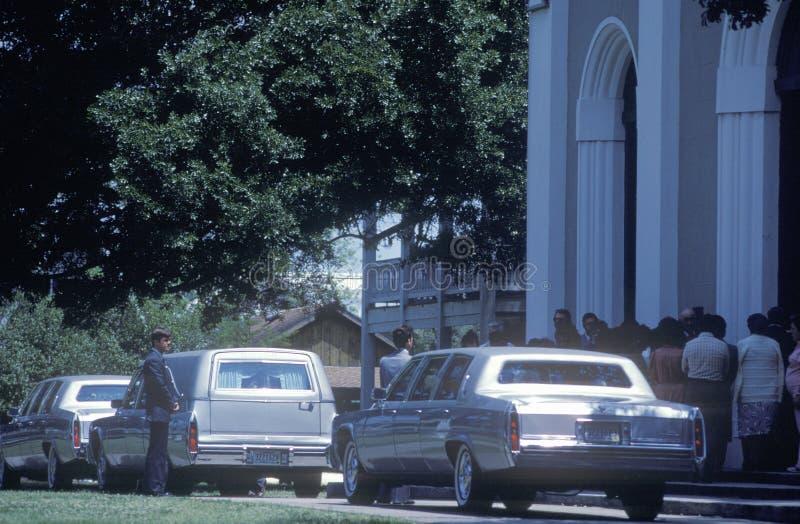 在葬礼的柩车,圣Martinville, LA 免版税库存照片