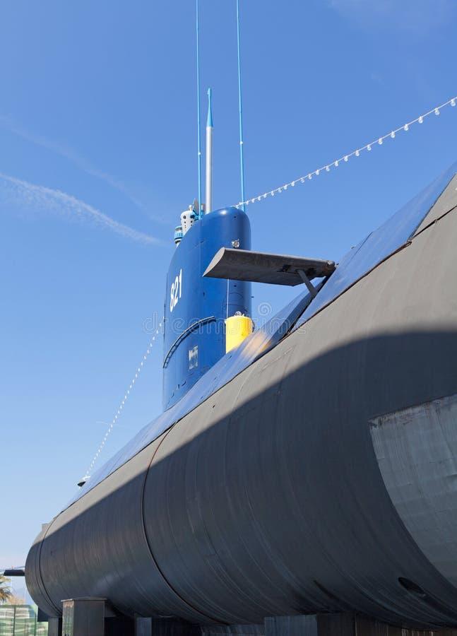 在蒂瓦特,黑山附近的老潜水艇 免版税库存照片