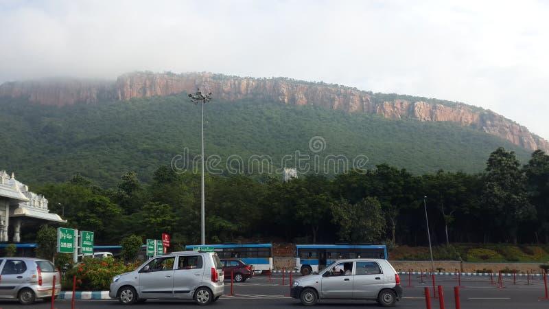 在蒂鲁帕蒂的圣洁Tirumala小山 免版税库存图片