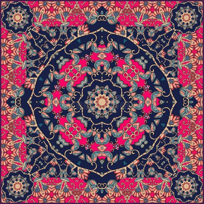 在蒙古样式与花-坛场的异常的班丹纳花绸印刷品 皇族释放例证