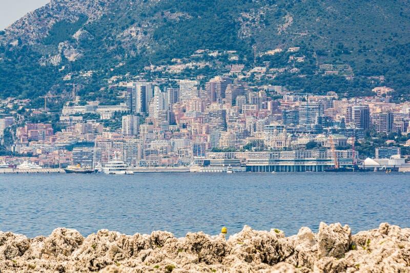 在蒙特卡洛,摩纳哥的全景 免版税库存照片
