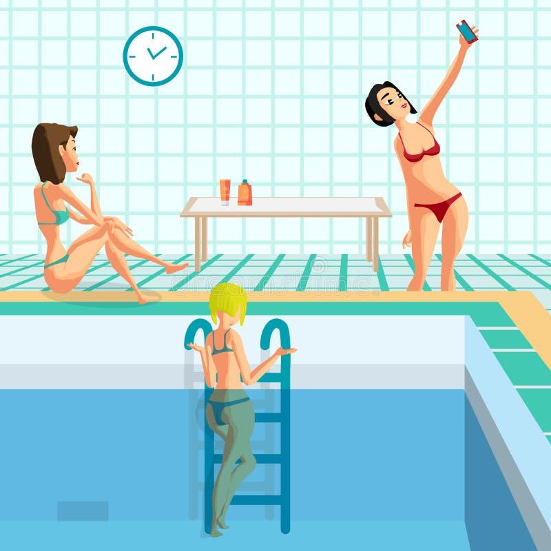 在蒸汽浴的游泳池在温泉沙龙 库存例证