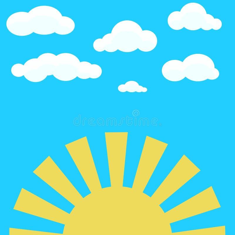 在蓝天和黄色朝阳的云彩 皇族释放例证