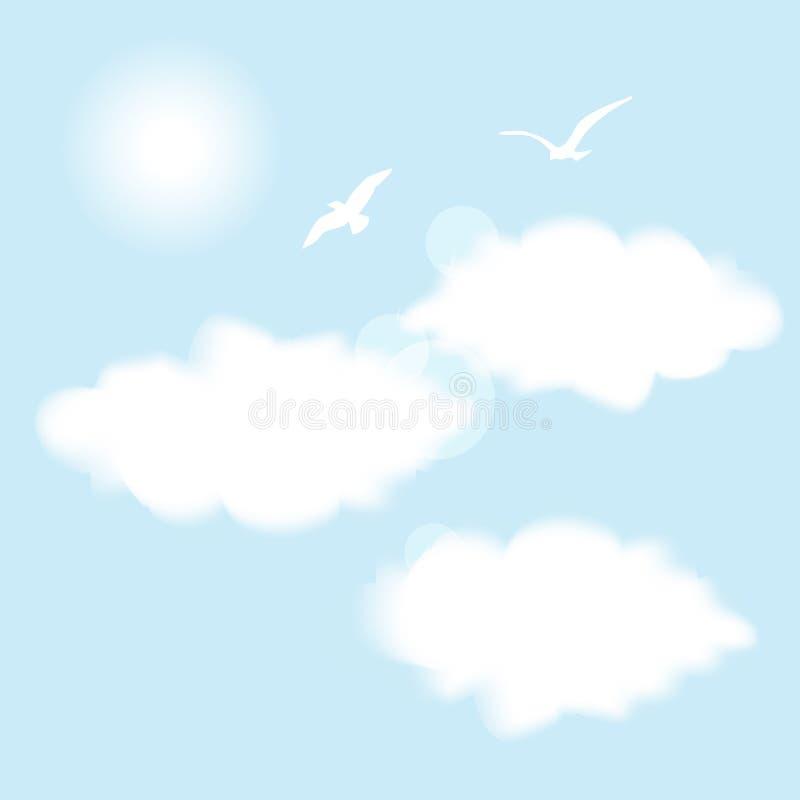 在蓝天的两飞鸟与云彩和太阳 向量例证