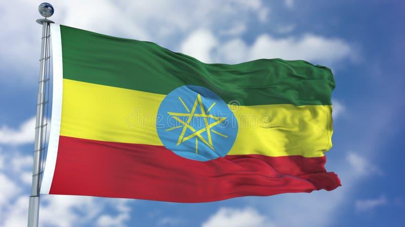 在蓝天的埃塞俄比亚旗子 向量例证