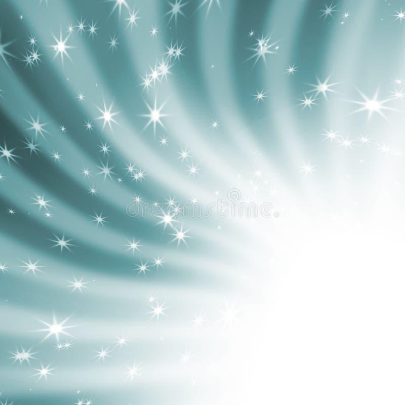 在蓝天的太阳的光芒与星形 库存例证