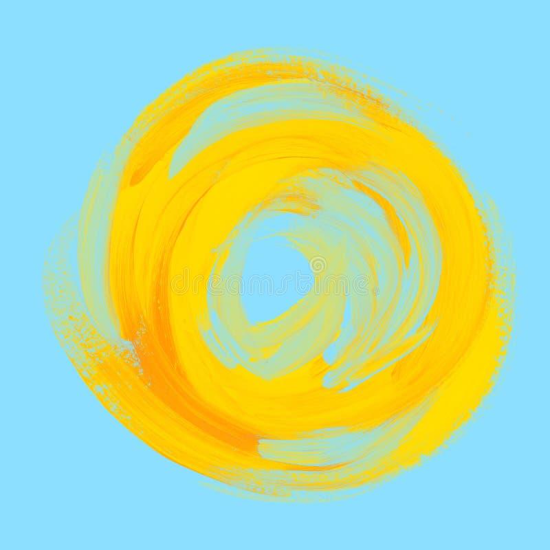 在蓝天的手工制造油漆背景黄色太阳 库存例证