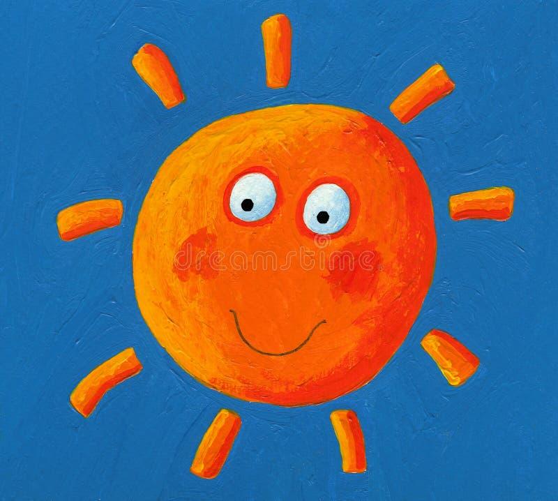 在蓝天的橙色太阳 库存例证