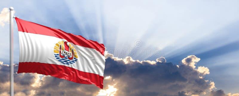 在蓝天的法属玻里尼西亚旗子 3d例证 向量例证