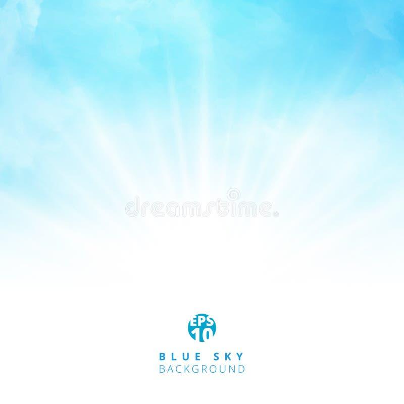 在蓝天的白色云彩细节与点燃空白的拷贝空间fo 皇族释放例证