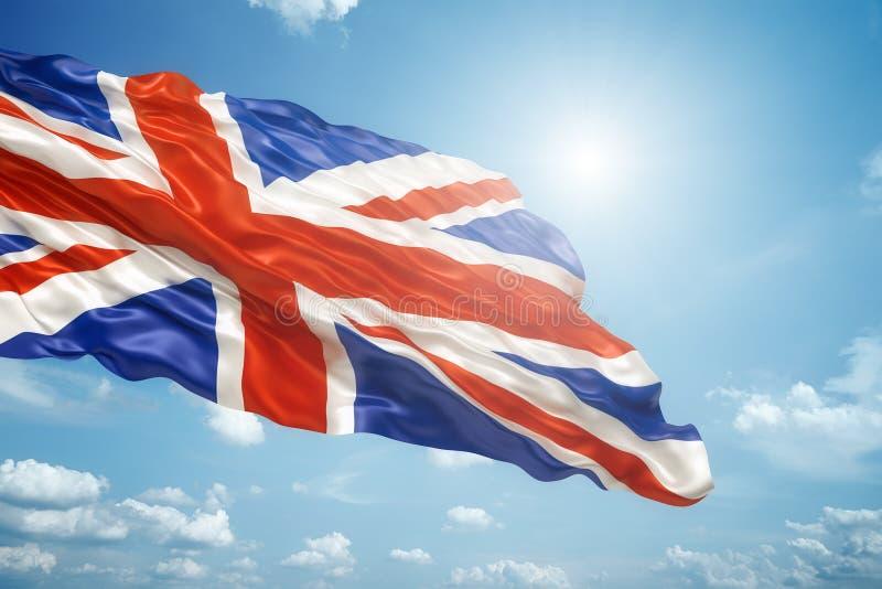 在蓝天的英国国旗 向量例证