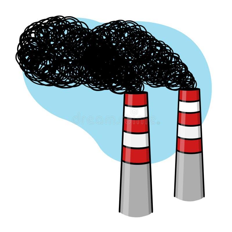 在蓝天背景例证的工业烟囱 向量例证