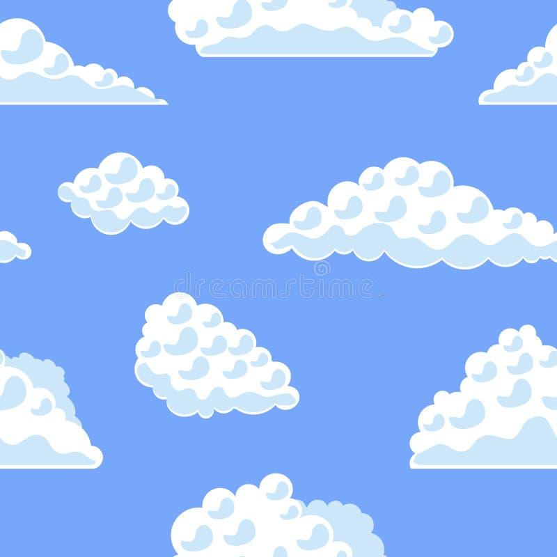 在蓝天背景样式的动画片云彩 向量 向量例证