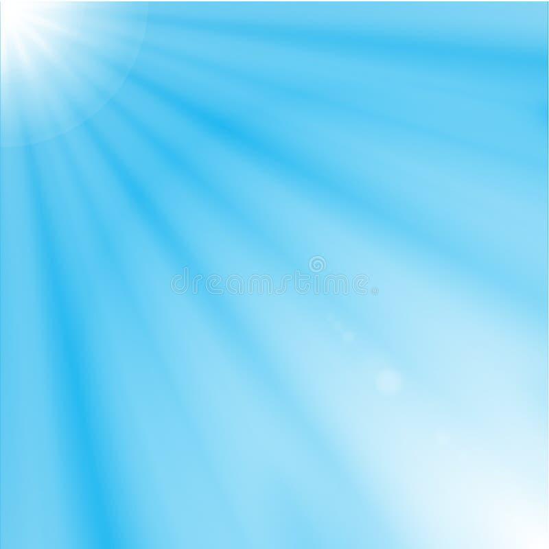 在蓝天背景的太阳光芒 向量例证