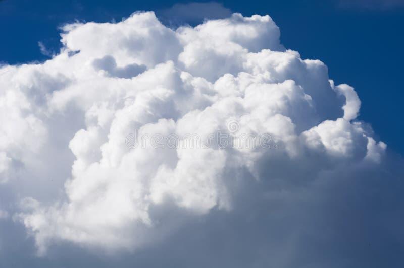在蓝天背景的密集的白色云彩 免版税库存图片