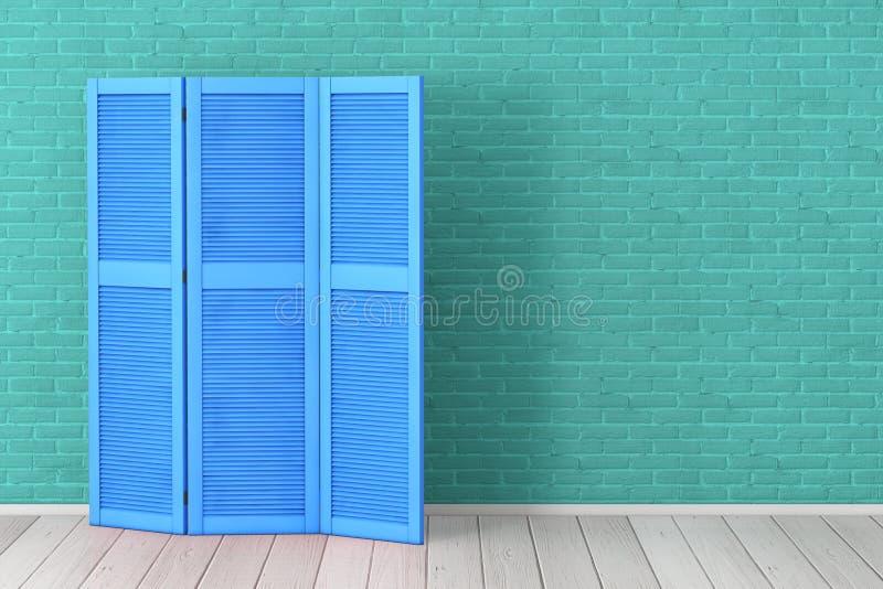 在蓝绿色砖墙前面的蓝色折叠的木礼服屏幕 3d?? 免版税库存照片