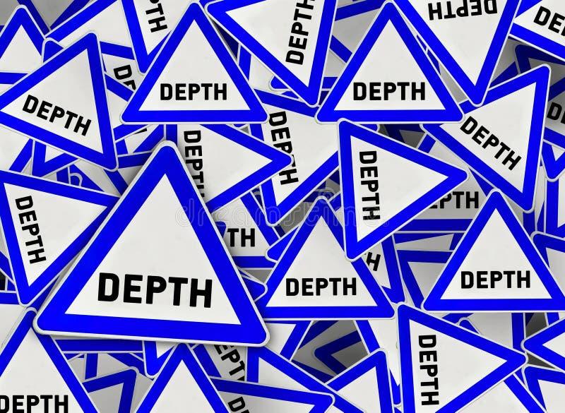 在蓝色三角路标的很多深度 向量例证