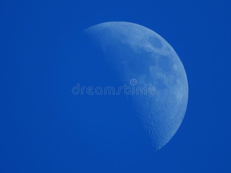 在蓝色下午天空的新月形月亮 库存图片