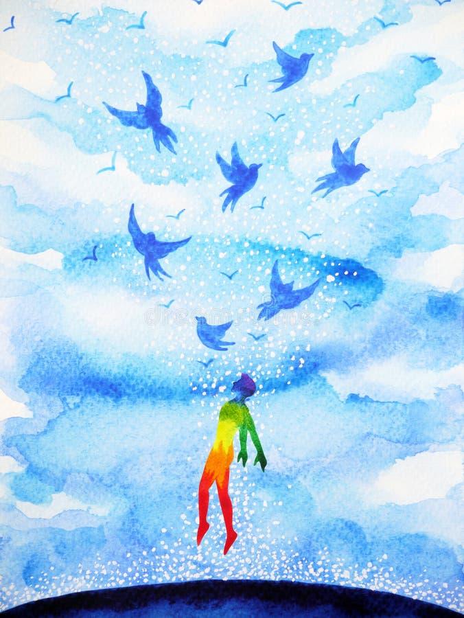 在蓝色云彩天空的抽象人的飞鸟精神头脑 库存例证