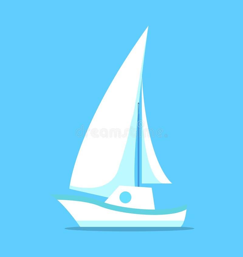 在蓝色传染媒介隔绝的帆船白色象 向量例证