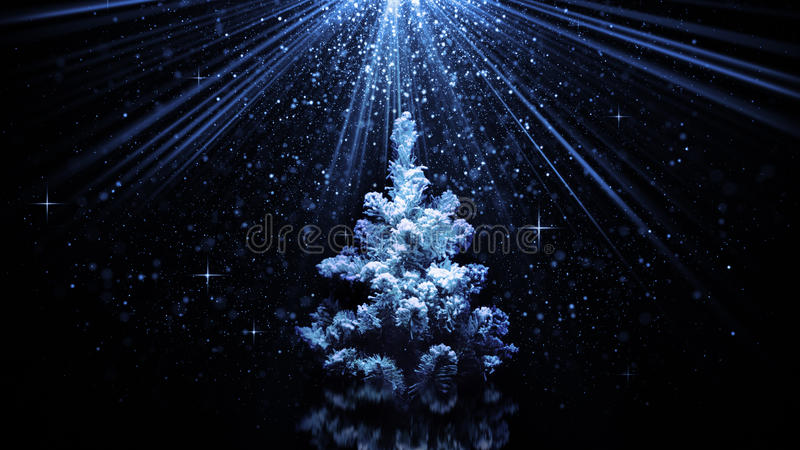 在蓝色光束的圣诞树 向量例证