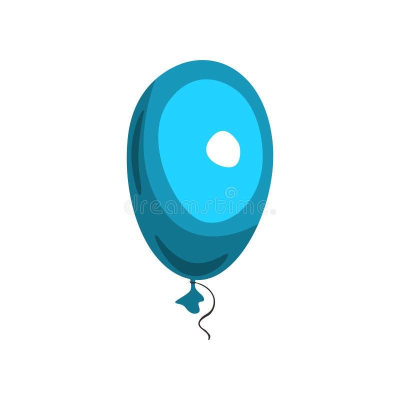 在蓝色光滑的气球形状的字母表信件O  动画片发光的字体 被隔绝的传染媒介设计为生日 库存例证