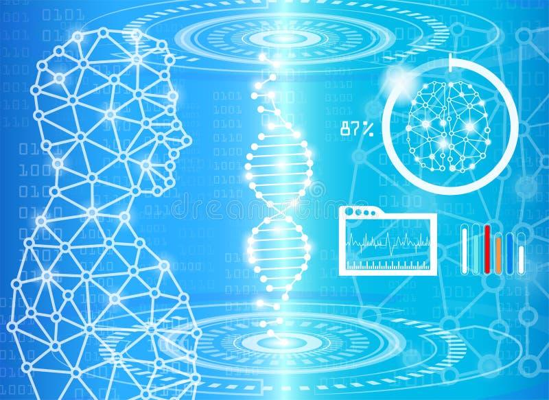 在蓝色光的抽象背景技术概念 向量例证