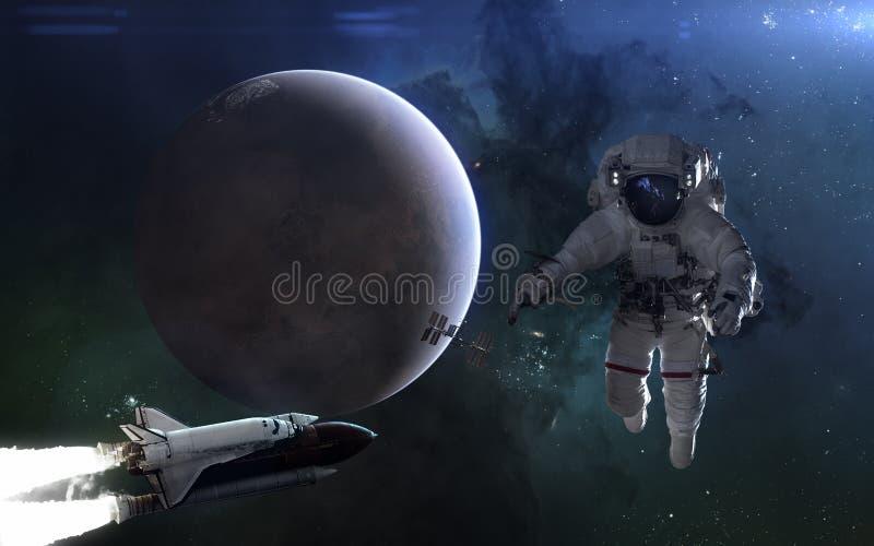 在蓝色光的行星火星 宇航员,航天飞机,ISS,太阳系 r 皇族释放例证