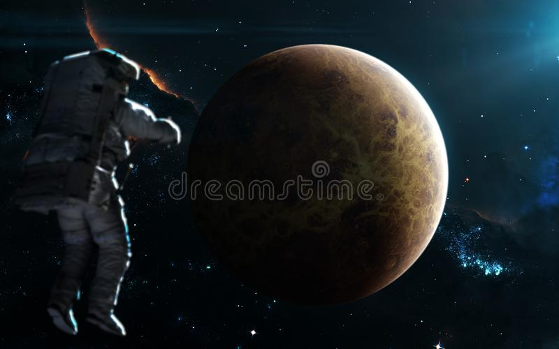 在蓝色光的行星金星 剪报地球重点水银路径太阳系金星 科幻艺术 图象的元素由美国航空航天局装备 库存照片