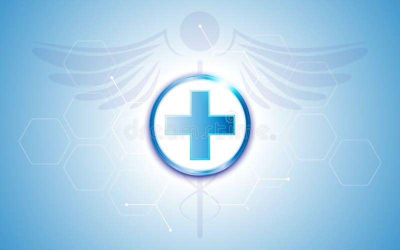 在蓝色六角形样式背景的抽象医疗医疗保健医院诊所标志标志 库存例证
