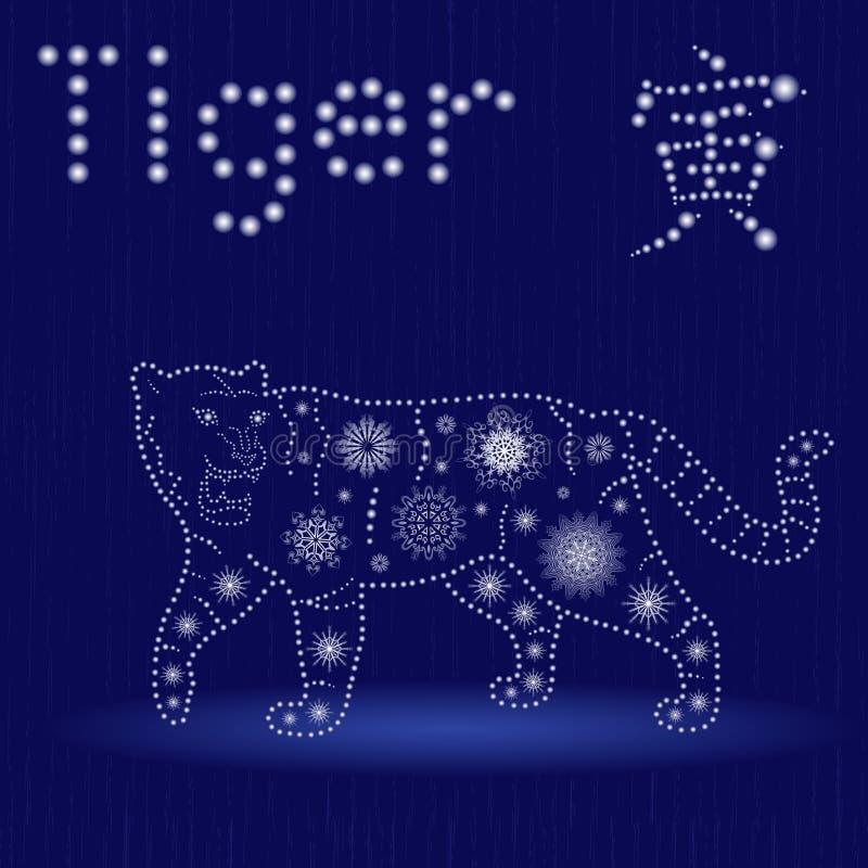在蓝色冬天主题的中国黄道带标志老虎 向量例证