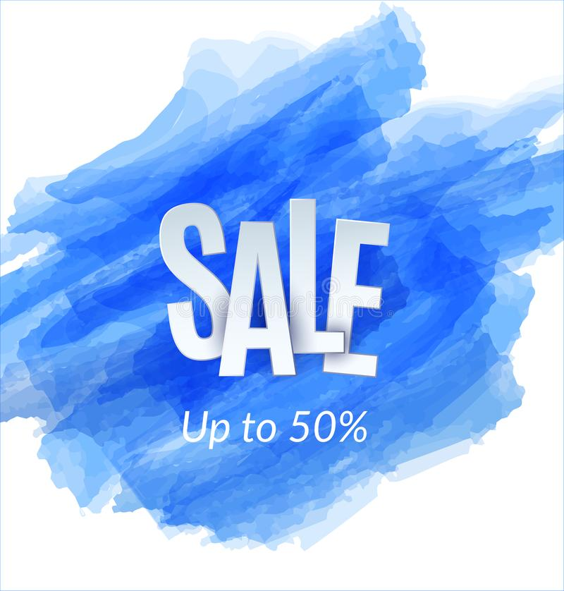 在蓝色剪影背景的销售艺术性的横幅模板设计 特价优待,折扣的五颜六色的信件 皇族释放例证