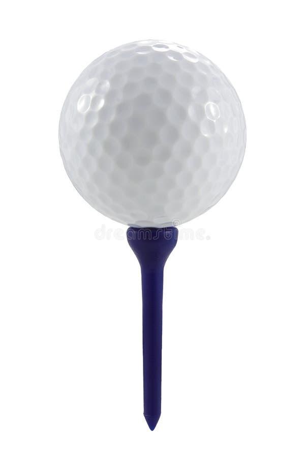 在蓝色发球区域的高尔夫球与裁减路线 免版税图库摄影