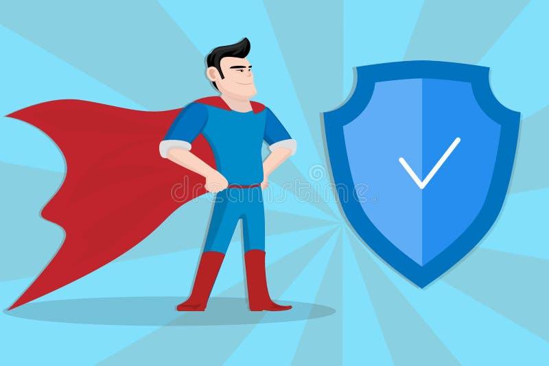 在蓝色可笑的背景的英雄安全 向量例证