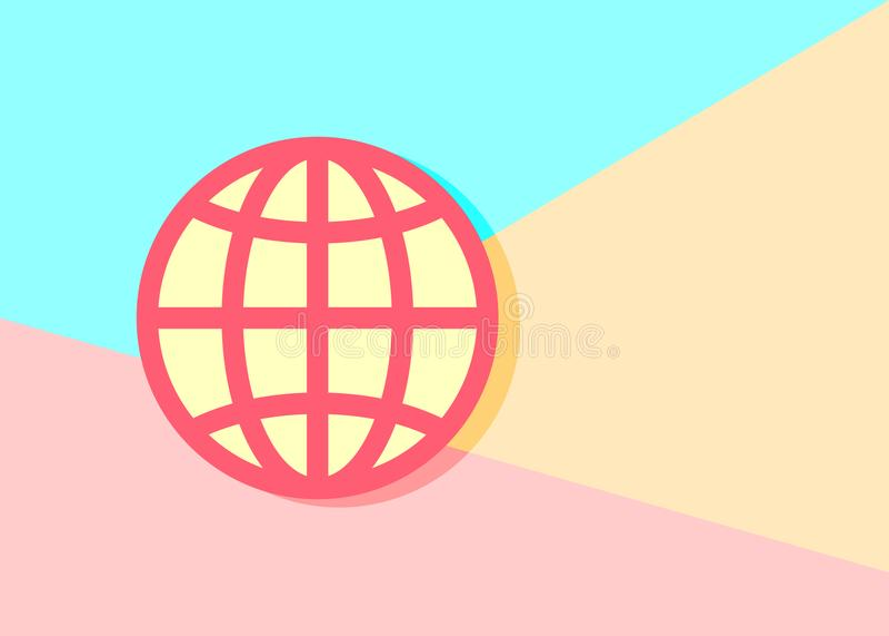 在蓝色和桃红色背景的现代trand地球行星象 向量例证