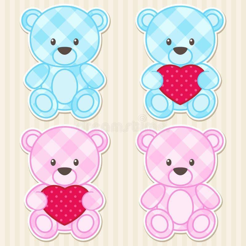 在蓝色和桃红色颜色的玩具熊 向量例证