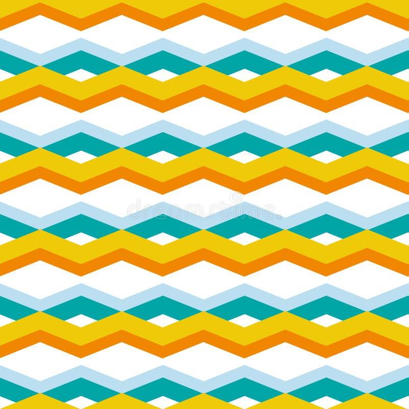 在蓝色和橘黄色的葡萄酒减速火箭的样式几何V形臂章之字形无缝的样式包裹的,织品,背景 库存例证