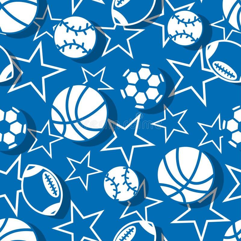 在蓝色和白色无缝的样式的体育球 皇族释放例证