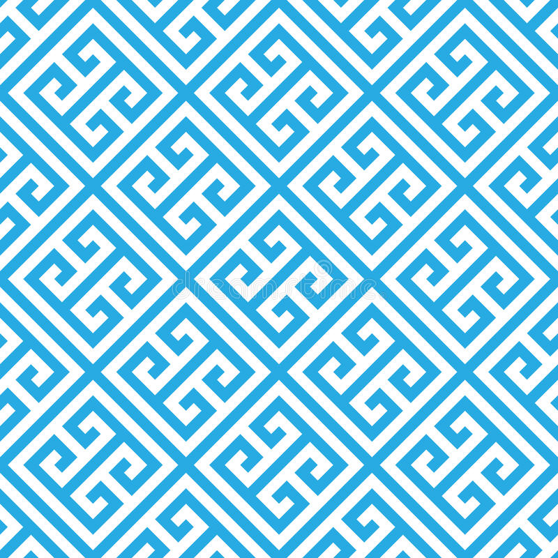 在蓝色和白色的希腊关键无缝的样式背景 葡萄酒和减速火箭的抽象装饰设计 简单的舱内甲板 皇族释放例证