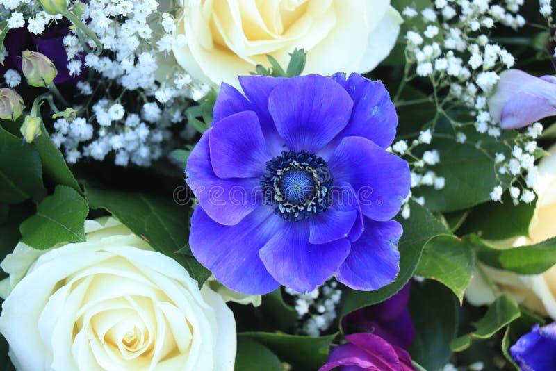 在蓝色和白色的新娘花束 免版税库存照片