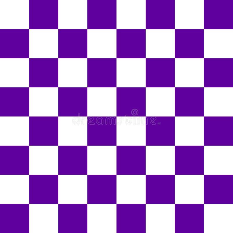 在蓝色和白色的棋枰或检测板无缝的样式 棋或验查员比赛的方格的委员会 方法 向量例证