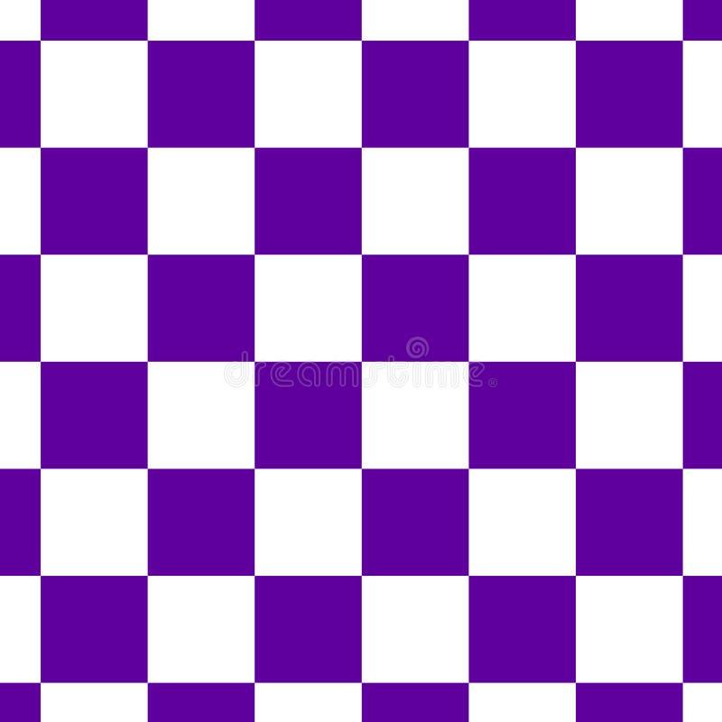 在蓝色和白色的棋枰或检测板无缝的样式 棋或验查员比赛的方格的委员会 方法 库存例证