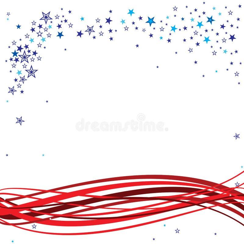 在蓝色和白色的疏散星当有红色条纹的帆柱头在波浪样式 皇族释放例证