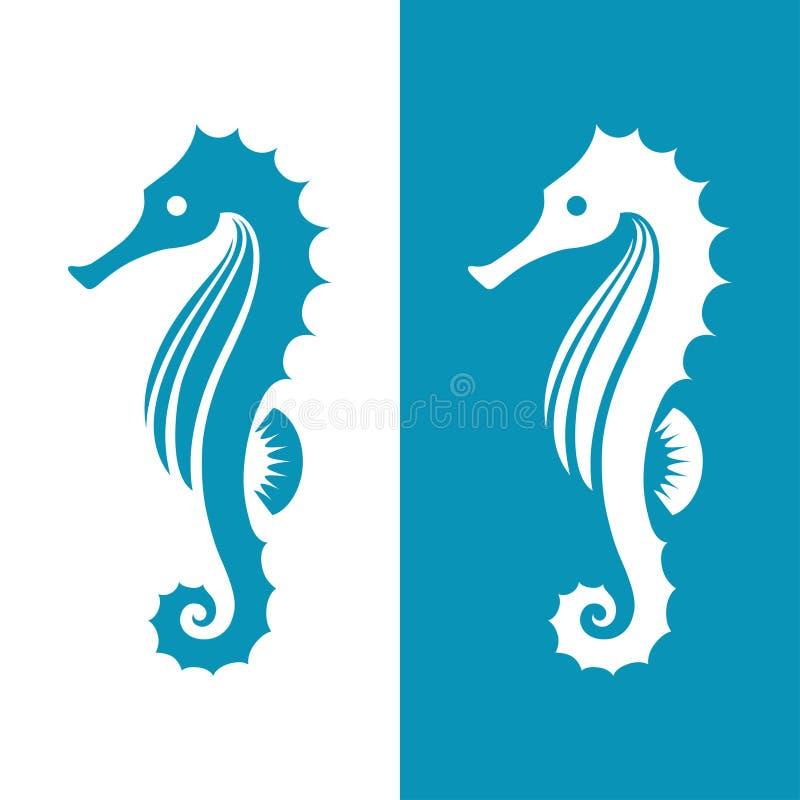 在蓝色和白色颜色的海象剪影 向量例证