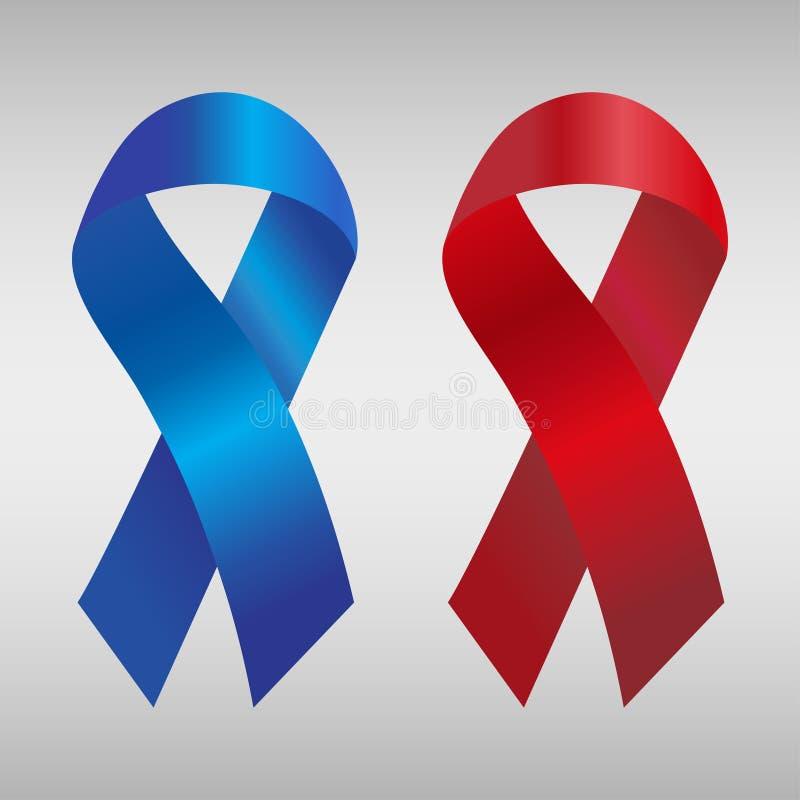 在蓝色和红色梯度的巨蟹星座丝带 也corel凹道例证向量 库存例证
