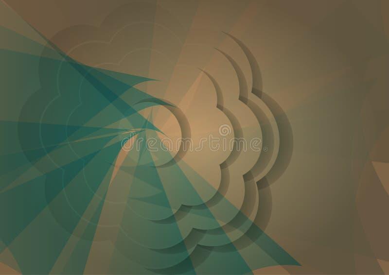 在蓝色和葡萄酒吹的背景的抽象花纸样式 向量例证