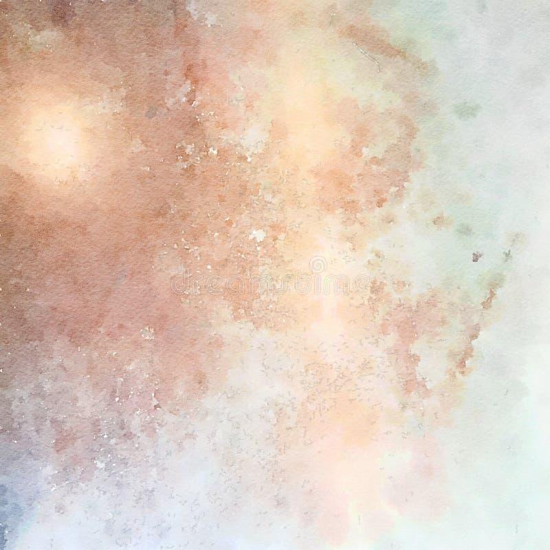 在蓝色和褐色的软的淡色脏的抽象水彩背景 库存图片